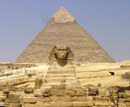 The Great Sphinx, with the Great Pyramid of Khafre in the background, at Giza, Egypt.