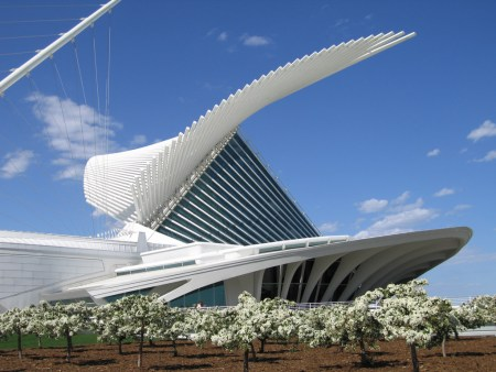 The Quadrucci Pavilion, part of the Milwaukee Art Museum, located in Milwaukee, Wisconsin and designed by Santiago Calatrava.