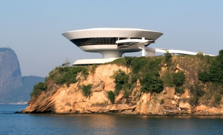 Niteroi Contemporary Art Museum, designed by Oscar Niemeyer, in Rio de Janeiro, Brazil.