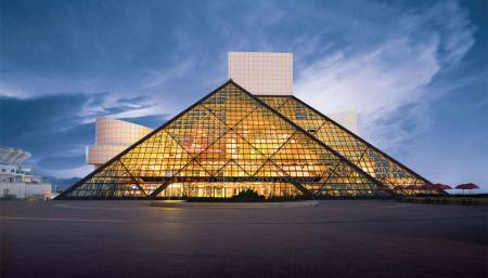 The Rock and Roll Hall of Fame, by I.M. Pei, in Cleveland, Ohio.