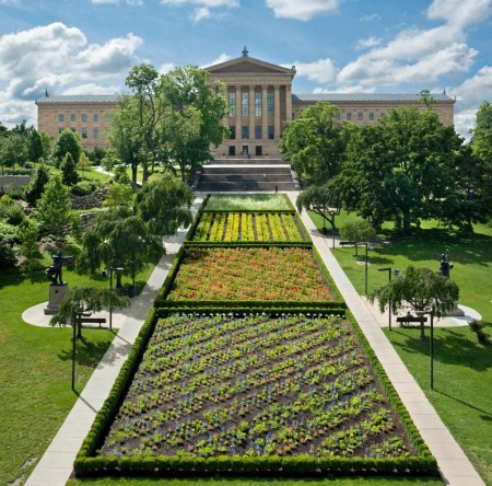 Lines in Four Directions with Flowers by Sol LeWitt, installed in Fairmount Park in Philadelphia, Pennsylvania.