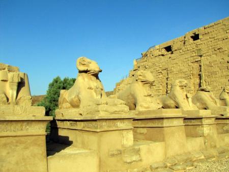 Ram Sphinxes at the Precinct of Amun-Re, Karnak Temple complex, near Luxor, Egypt.