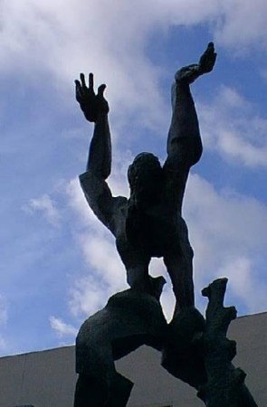 The Destroyed City, a sculpture by Ossip Zadkine, is located in Rotterdam.