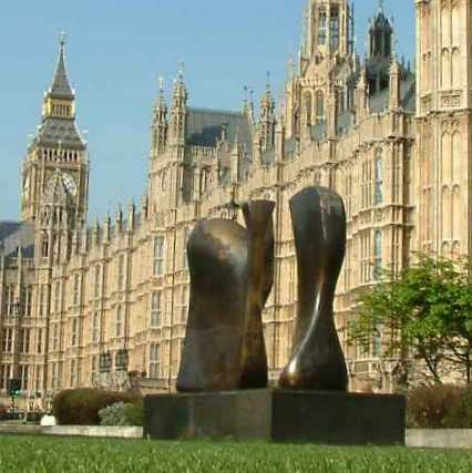 Henry Moore's Knife Edge Two Piece at Westminster, London, UK.