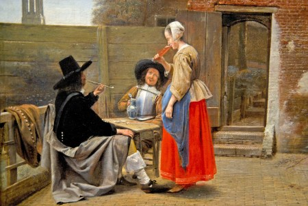 Detail of Pieter de Hooch's A Dutch Courtyard, in which two soldiers appear to have included their server in a drinking game.