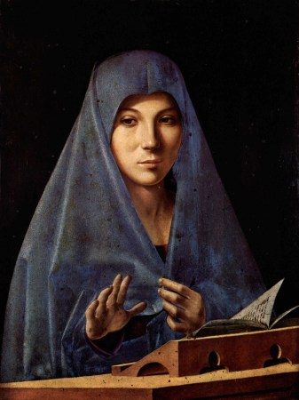 In Virgin Annunciate, Antonello da Messina tells the story of the Annunciation without depicting the Angel Gabriel.