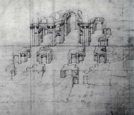 Few of Baldassarre Peruzzi's plans for St. Peter's Basilica - shown here in his drawing - came to fruition.