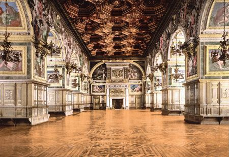 Jean Bullant, working with Philibert de l'Orme, designed the Grand Ballroom at the Palace of Fontainebleau for Henry II and Catherine de 'Medici.