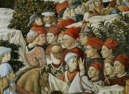 Detail from Benozzo Gozzoli's Procession of the Magi, which he painted on the walls of the chapel in the Medici palace in Florence.