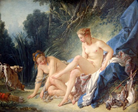 A painter of the French Court, Boucher often applied his Rococo style to mythological subjects, as here in Diana Leaving Her Bath.