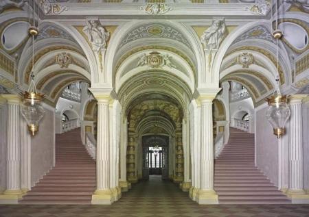 A view of the interior of Balthazar Neumann's Schloss Bruchsal.