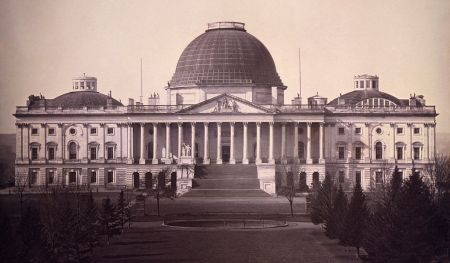 Charles Bulfinch designed the central, domed building of the Capitol, shown here in 1846. The dome was replaced in the 1860s after the extension of the east and west wings.