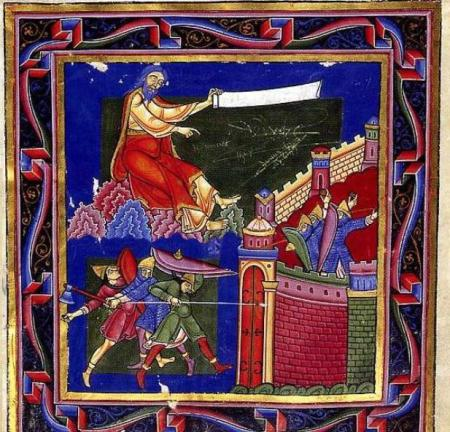 An illustration from the Bury Bible, showing Crusaders successfully taking Jerusalem.