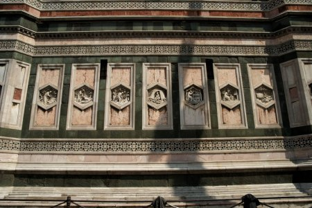 While performing the duties of Chief Architect for Florence Cathedral, Andrea Pisano also created relief sculptures for one set of doors for the Baptistery as well as for one side of Giotto's Campanile (see photo).