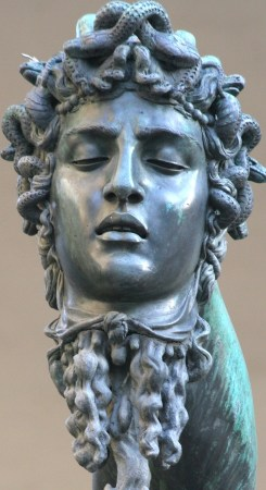 Detail of Benvenuto Cellini's Perseus, showing the severed head of Medusa.