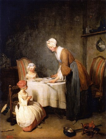 Saying Grace, by Jean-Baptiste-Siméon Chardin, is one of many paintings depicting the life and habits of the growing French middle class.