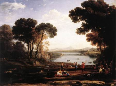 Claude Lorrain's Landscape with Dancing Figures, also known as The Mill.