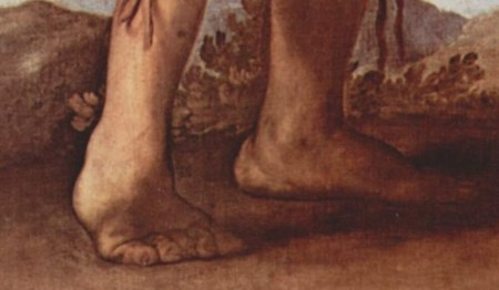 Detail of The Club-Footed Boy, by Jusepe de Ribera, showing the boy's ailment.