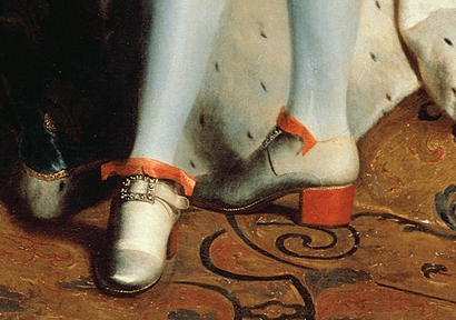 Detail of Rigaud's Portrait of Louis XIV, showing the king's feet.