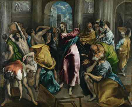 El Greco's Christ Driving the Moneychangers from the Temple, from about 1600 and now in the National Gallery in London, is one of six different paintings on the same theme that El Greco painted over his career.