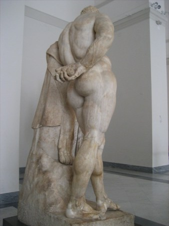 A rear view of the Farnese Hercules shows the Hesperidean apples that Hercules stole in his 11th Labor.