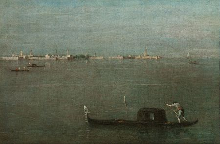 Like Canaletto, Francesco Guardi specialized in Venetian veduta, highly detailed paintings of the city's sights. The Gray Lagoon is atypical in its sparseness.