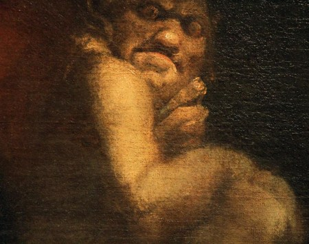 Detail of Fuseli's Nightmare, showing the incubus sitting on the sleeping woman's chest.