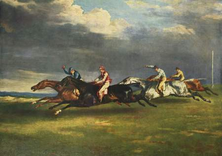 Théodore Géricault's painting of The Derby at Epsom shows the horses with all four legs off the ground. Photography would later show that, while horses' legs did leave the ground at once, the pose shown here is inaccurate.