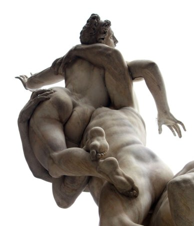 Giambologna's Rape of the Sabine Women, seen from below.