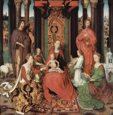 The center panel of the St. John's Altarpiece, showing the Madonna and Child, St. John, St. Catherine.