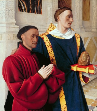 The left wing of the Melun Diptych, by Jean Fouquet, shows the donor, Étienne Chevalier, with his patron saint St. Stephen, who is bleeding from a head wound.