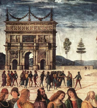 Detail from the upper left corner of Perugino's Delivery of the Keys, showing the story of the Money Collector against the background of a Roman triumphal arch.