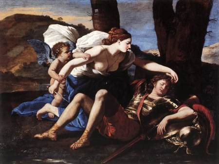 Nicolas Poussin's painting Rinaldo and Armida is based characters from Torquato Tasso's 1582 epic poem, Jerusalem Delivered.