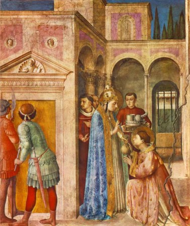 St. Lawrence Receiving the Treasures of the Church, one of the frescoes painted by Fra Angelico and his assistants in the Niccoline Chapel of the Apostolic Palace in the Vatican.