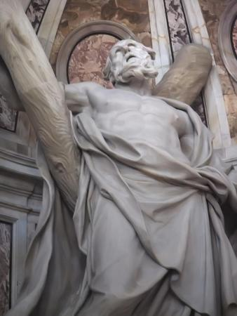 Detail of the statue of St. Andrew in St. Peter's Basilica, which was created by Francois Duquesnoy.