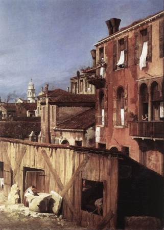 Detail of Canaletto's painting The Stonemason's Yard.