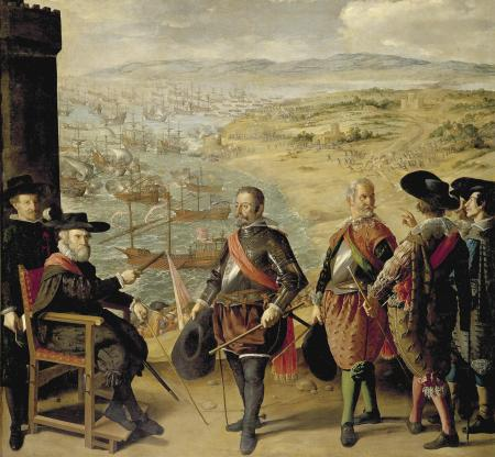 The Defense of Cadiz against the English was an uncharacteristic subject for Spanish painter Francisco de Zurbarán, who specialized in religious portraits and still lifes.