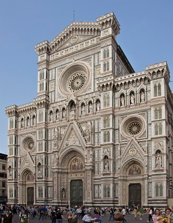 The façade of the Florence Cathedral. Construction of the massive church began in the late 13th Century and continued until the 16th Century.