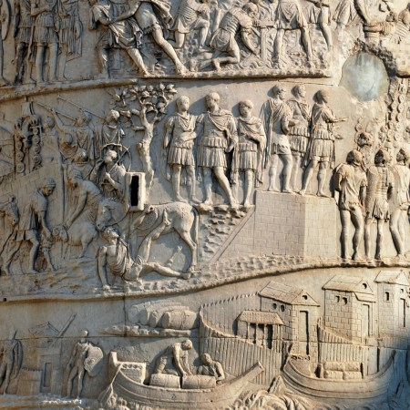 Detail of some of the sculpted reliefs on Trajan's Column.