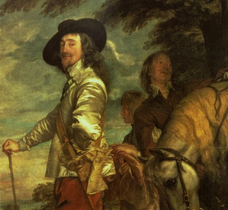Detail of Anthony van Dyck's Charles I at the Hunt, one of his many portraits of the English king later beheaded by Cromwell's Puritans.