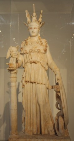 The Varvakeion Athena is a miniature copy of the 38-foot original, made in the 3rd Century CE and now at the National Archaeological Museum in Athens.