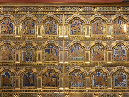 Detail of the Verdun Altar, showing some of the over 50 enameled Biblical scenes.
