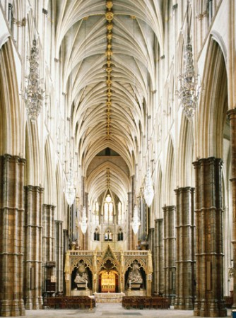 An interior view of Westminster Abbey, showing the nave built by Henry Yvele.