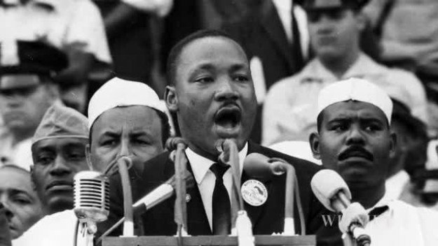 Martin Luther King, Jr. delivers his
