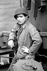 A photograph of Robert Capa taken on D-Day, June 6, 1944.