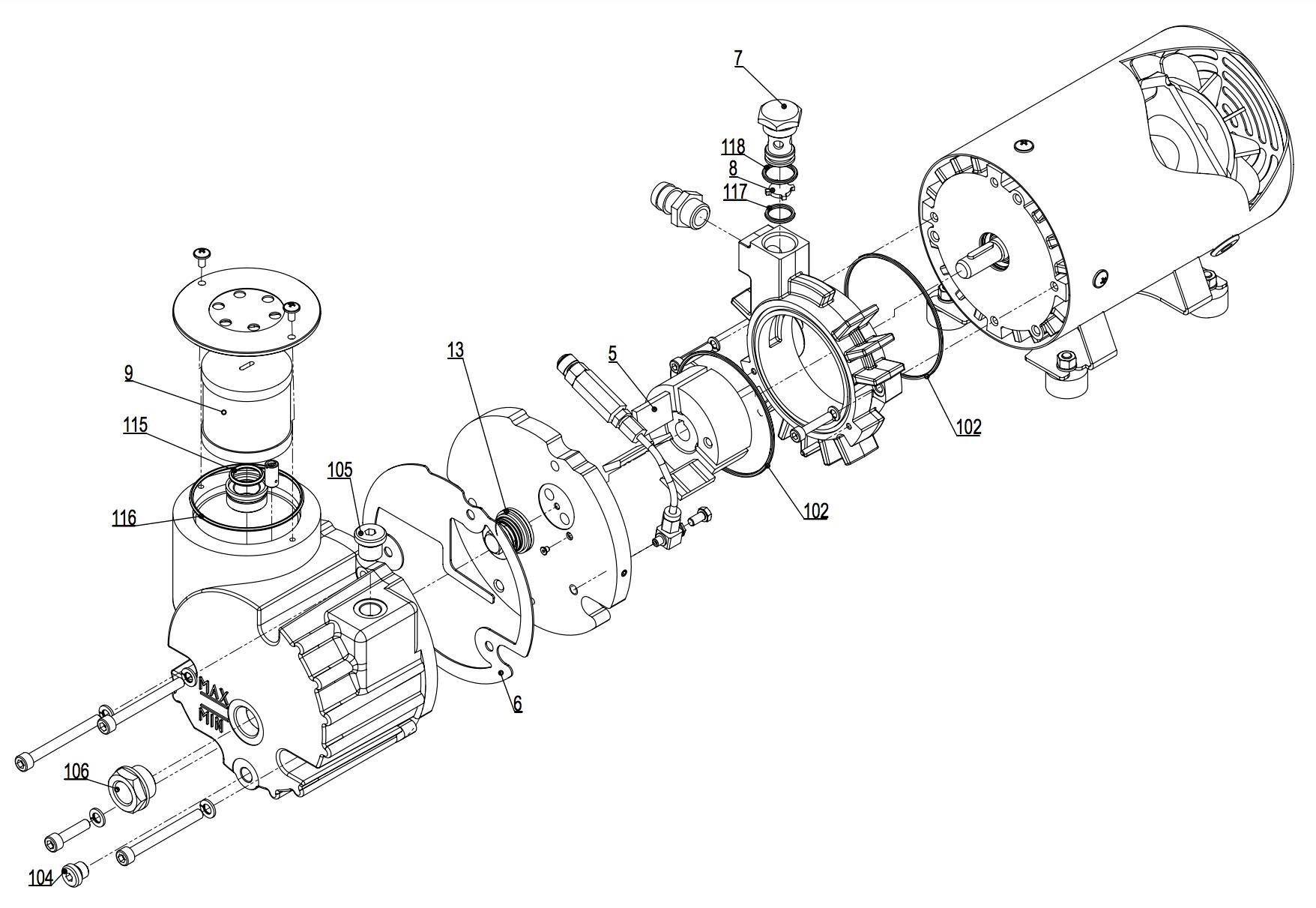 ロータリーベーン式潤滑真空ポンプ