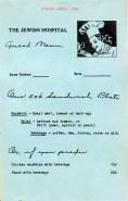 Jewish Hospital patient menu, 1940