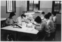 Chinese workers mounting components on printed circuit boards in Shanghai, 1972