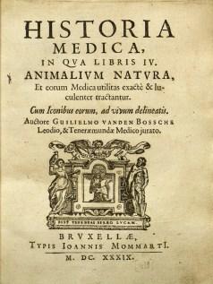 "Title page for Bossche's ""Historia medica"""