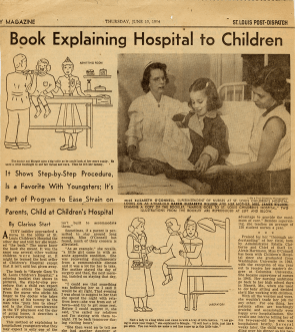 A St. Louis Post-Dispatch article describing O'Connell's coloring book for prospective patients